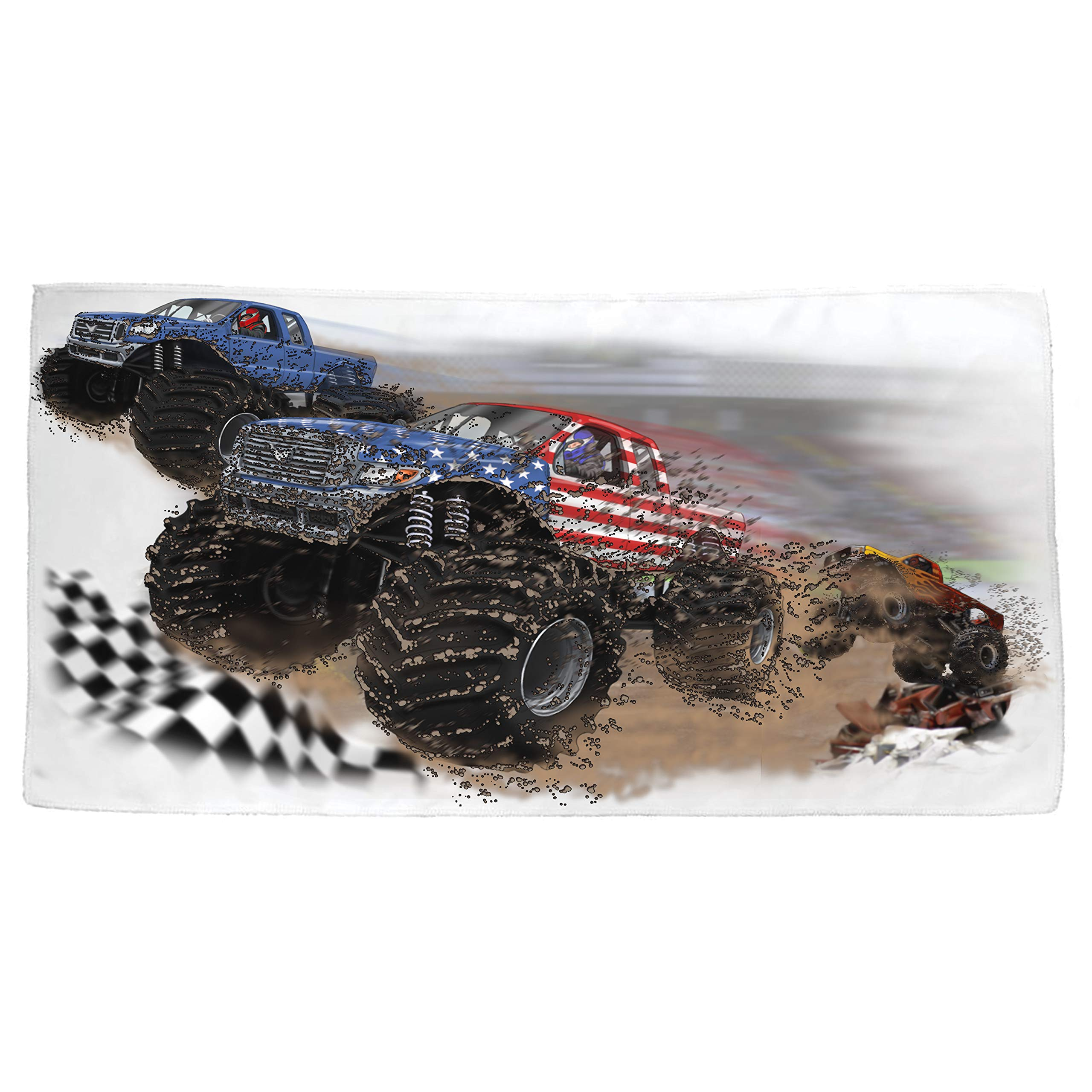 Shirts That Go USA Monster Trucks Racing with Blue Truck Bath and Beach Towel