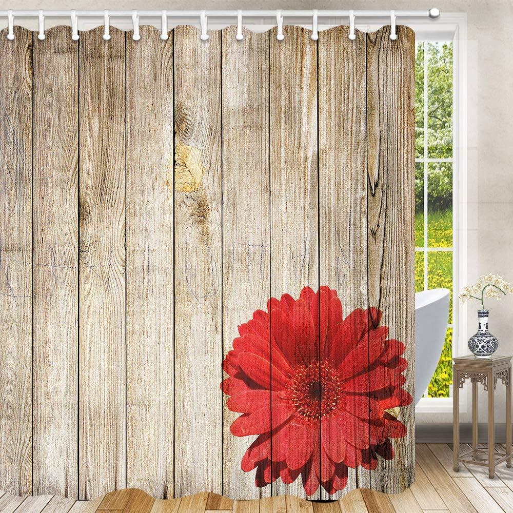Red Rose on Gray Vintage Rustic Wooden Floor Shower Curtain Set Bathroom Decor