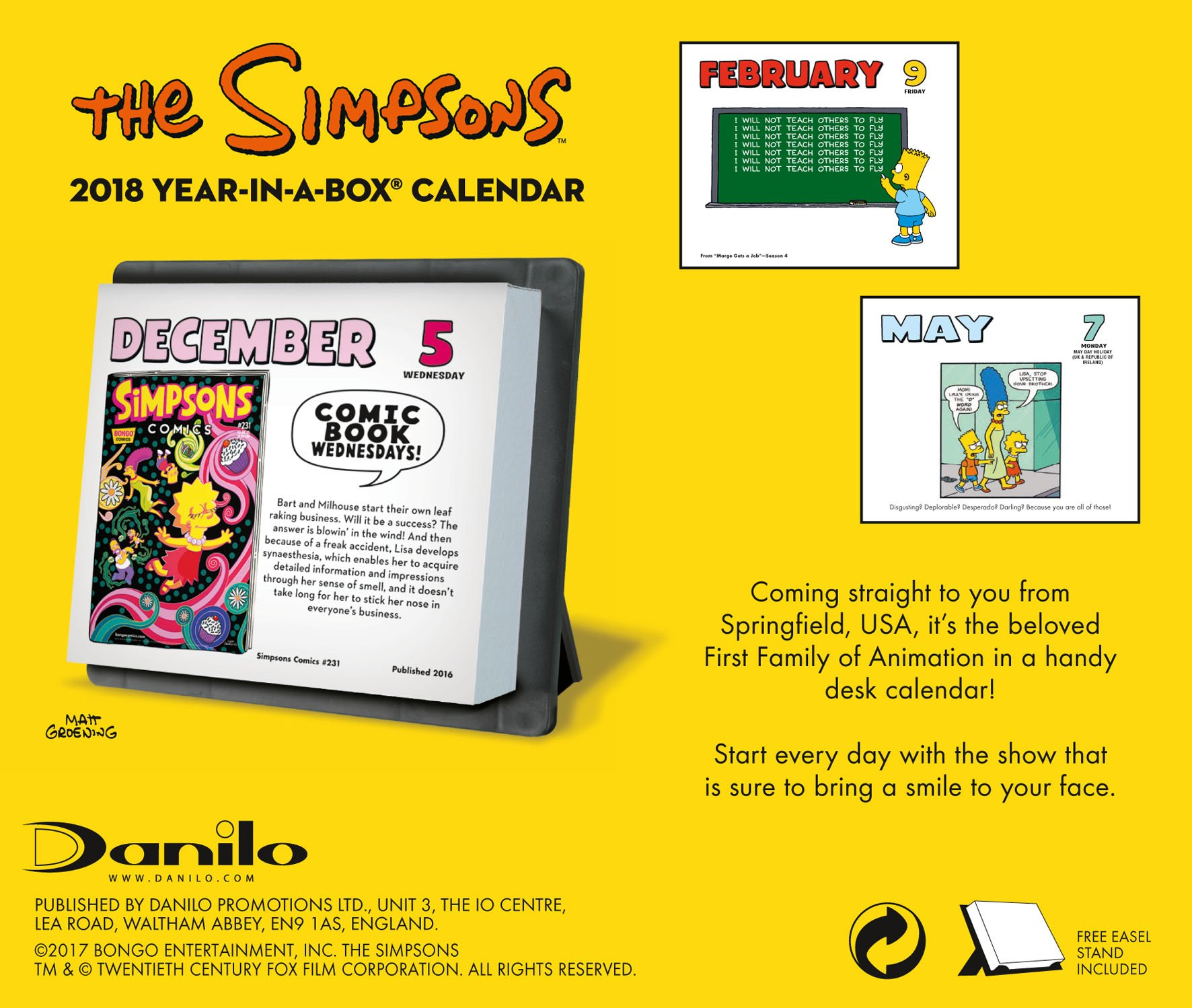 The Simpsons Official 2018 Desk Block Calendar - Page-A-Day Desk Format by Danilo Promotions Limited (Image #2)