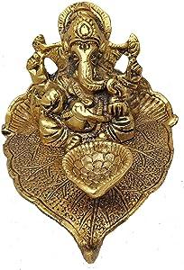 Ganesha Diya Oil Lamp Metal Leaf and Gold Plated Ganesha Idol with Diya for Home Decor