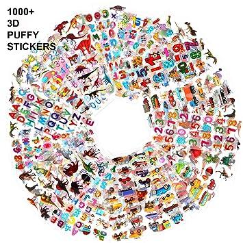 Howaf Pegatinas para niños, 1000+ 48 hojas diferentes, 3D ...