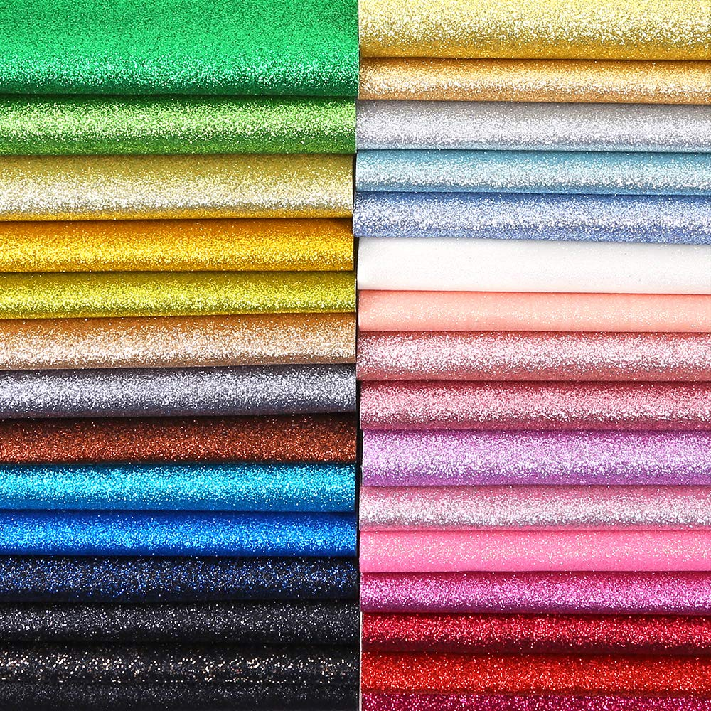 Caydo 30 Colors Shiny Superfine Glitter Fabric, PU Leather Fabric Sheets Canvas Back for Craft DIY, Hair Clips Making, Hat Making 12.6 x 8.6 Inch (32 x 22 cm)