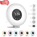 Hassh Sunrise Alarm Clock - Digital LED Clock with Multiple Nature Sounds ,7 Changing Colors and FM Radio for Bedrooms - Sunset Simulation & Touch Control - With Snooze Function for Heavy Sleepers