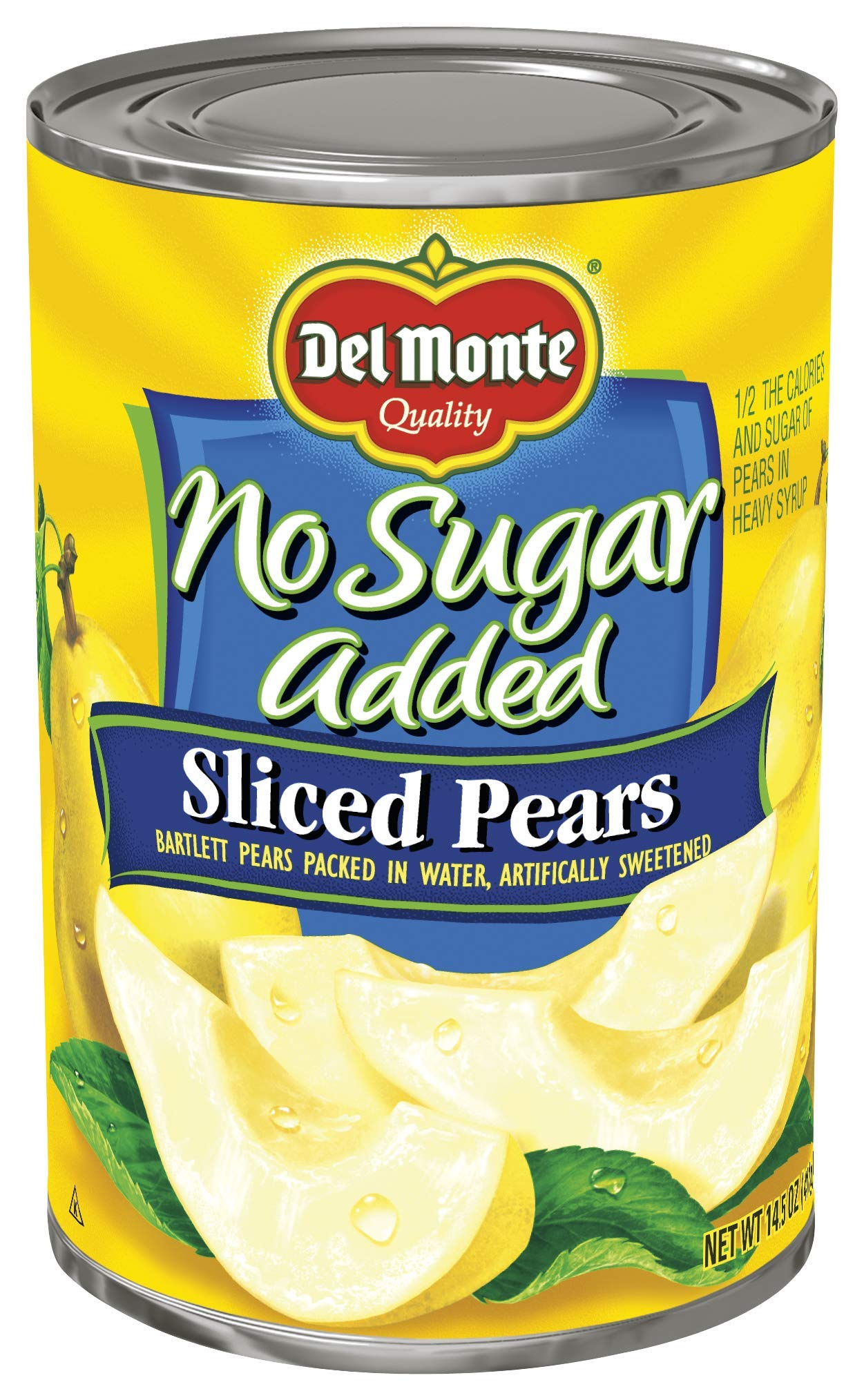 Del Monte Canned Bartlett Sliced Pears in Water, No Sugar Added, 14.5 Ounce, Pack of 12 by Del Monte