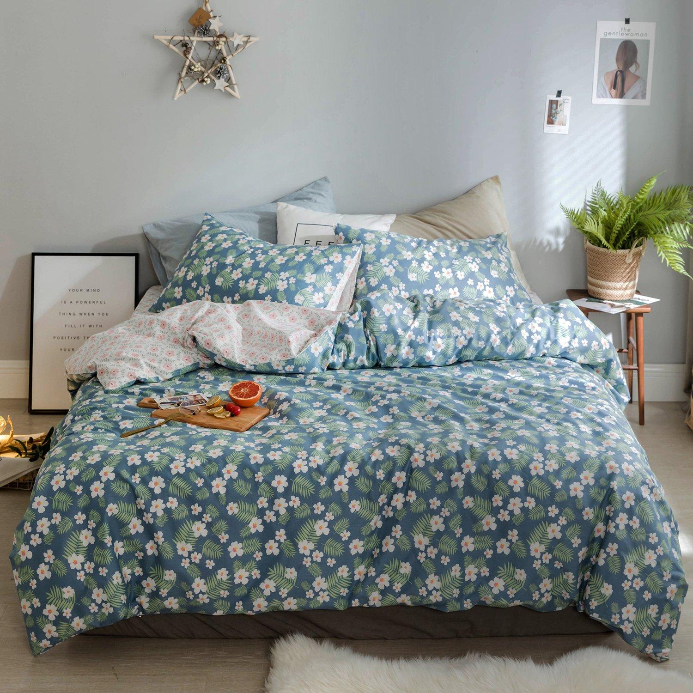 OREISE Floral Duvet Cover Set King Size 100% Cotton Blue Pink Green Printed Flower Pattern Reversible Design 3Piece Bedding Set (1 Duvet Cover + 2 Pillow Shams) Soft Breathable Durable