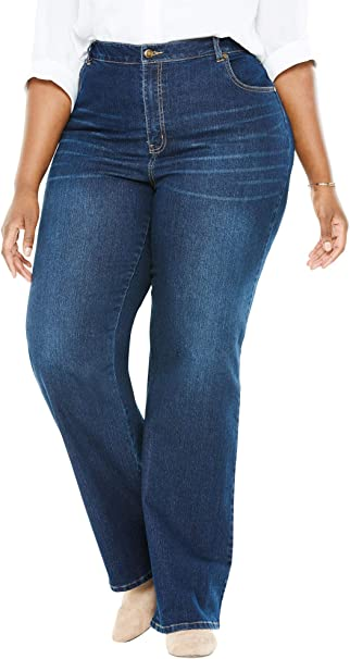 Woman Within Womens Plus Size Wide Leg Stretch Jean