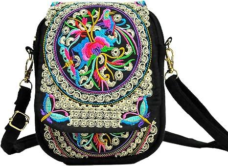 LazLake Women Ethnic Embroidered Shoulder Messenger Bag Handmade Crossbody Bag Boho Bags Canvas Handbag Phone Coin Purse MZ07