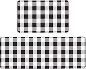 "Pauwer Anti Fatigue Kitchen Rug Set 2 Piece Non Slip Cushioned Kitchen Floor Mat Waterproof Comfort Standing Kitchen Mat (17""x47""+17""x28"", Black and White Plaid)"