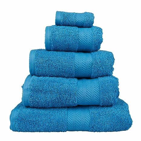 Homescapes Toalla de Lujo Suave y Absorbente de Algodón Egipcio Azul 500 gr/m²,