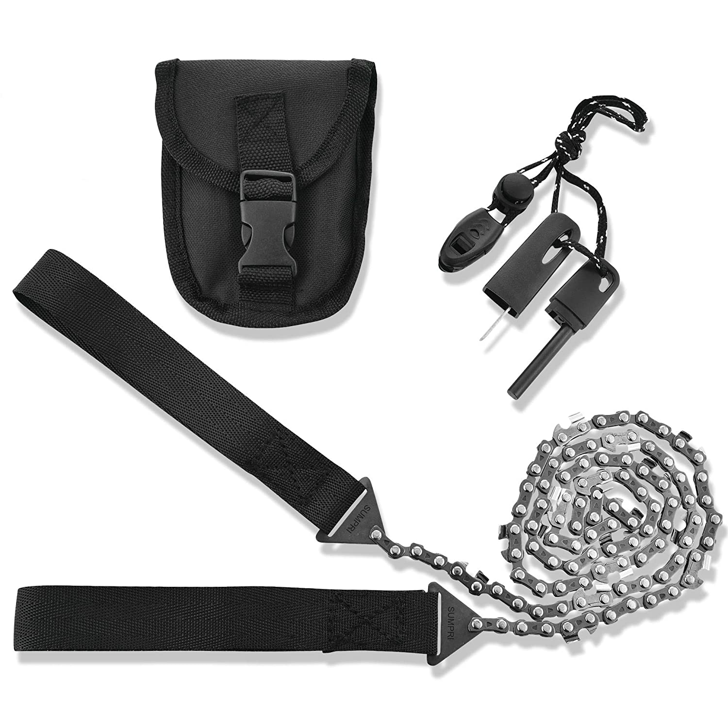 SUMPRI Pocket Chainsaw Survival Gear -36 Inch Long Chain Free Fire Starter Kit -Compact Hand Saw for Trees -Folding Hand Saw Tool for Camping, Hunting Emergency Kit -Backpacking Gadget Camp Saw