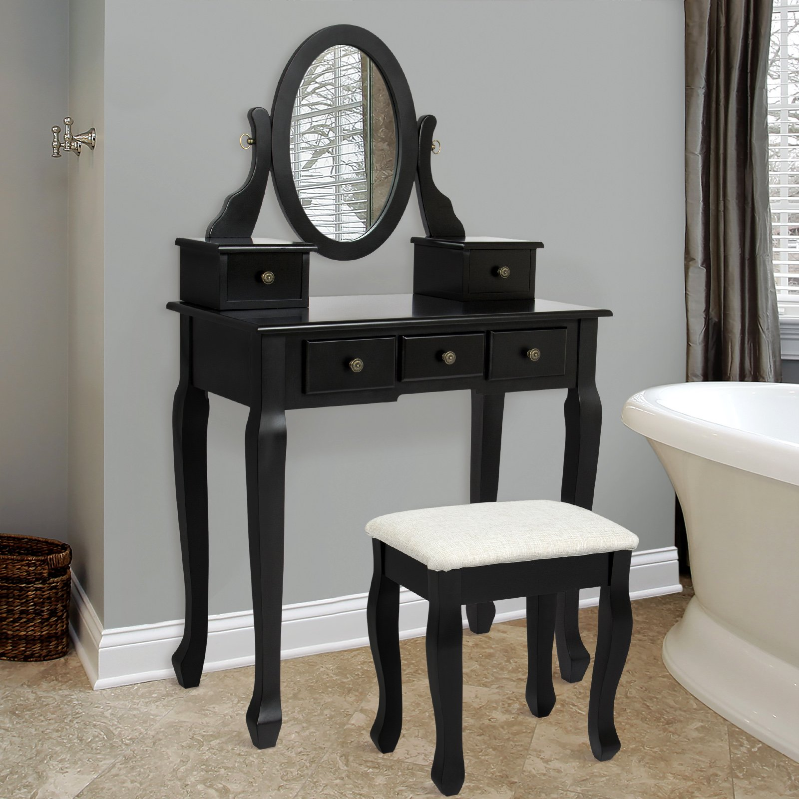 Best Choice Products Vanity Table and Stool Set w/Adjustable Oval Mirror, 5 Drawers, Padded Seat - Black