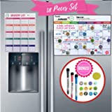 Magnetic Dry Erase Monthly Calendar for Fridge | Whiteboard Refrigerator Planner Smart Kitchen Organiser | Free Grocery List, 3 Fine-Tip Markers & 12 Magnet Icons | 45 Days Stain Resistant Technology