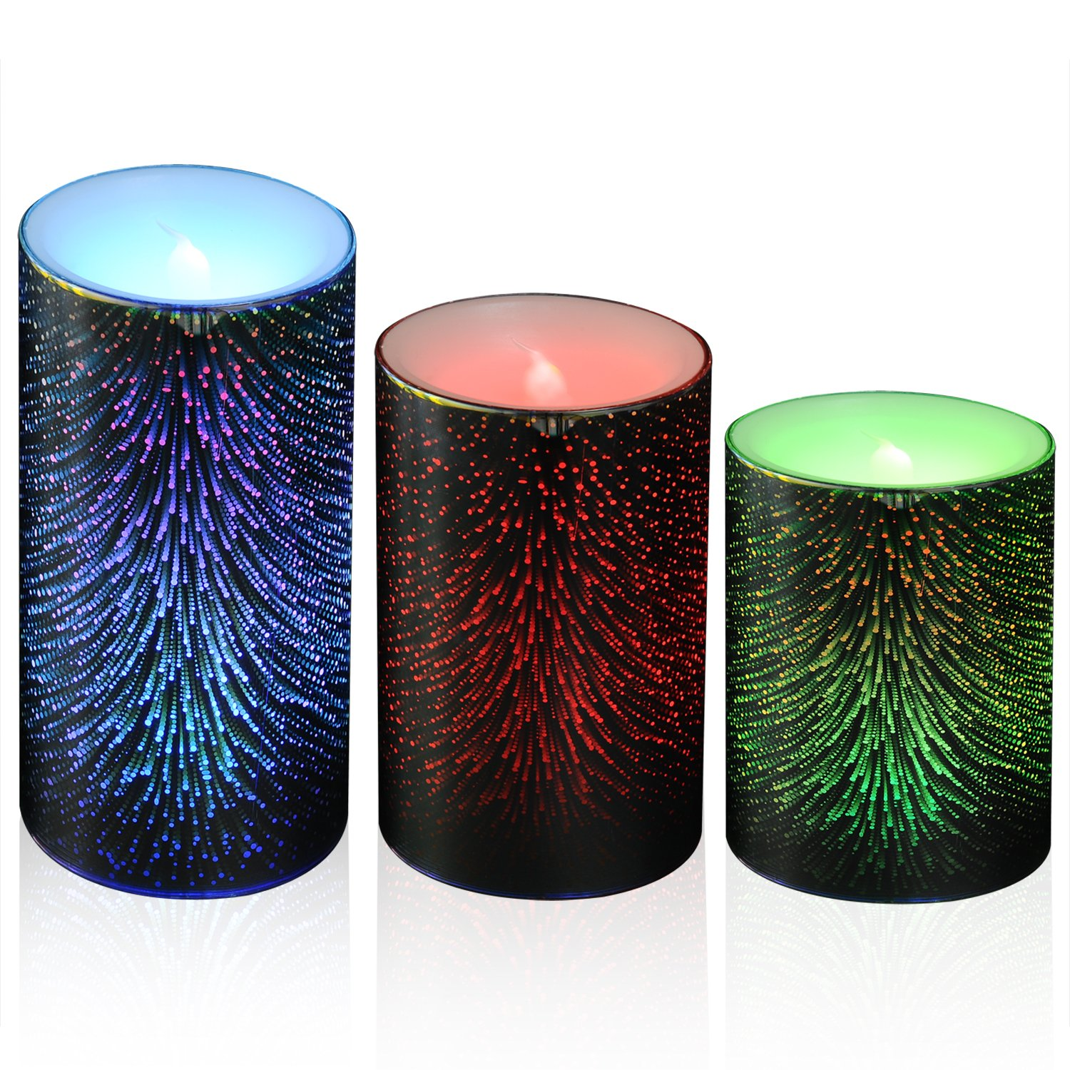 3D Flameless Candle Lamp Color Changing Led Candles Battery Operated Real Wax Pillar for Home Decoration Set of 3