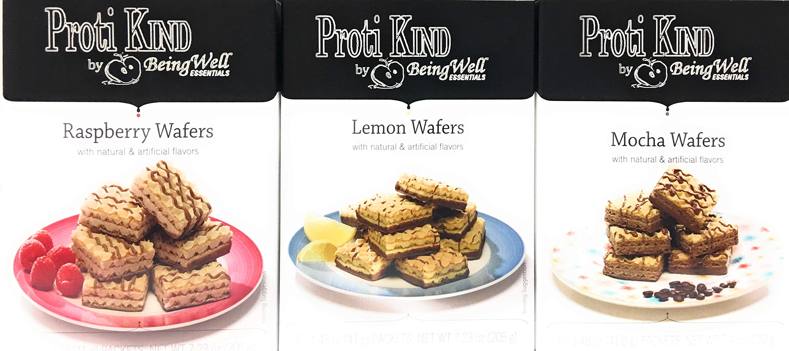 Proti Kind - High Protein Diet Wafer Squares Variety Pack - one Box Each of Three Different Flavors 15 Servings, 30 wafers (Mocha, Raspberry & Lemon)