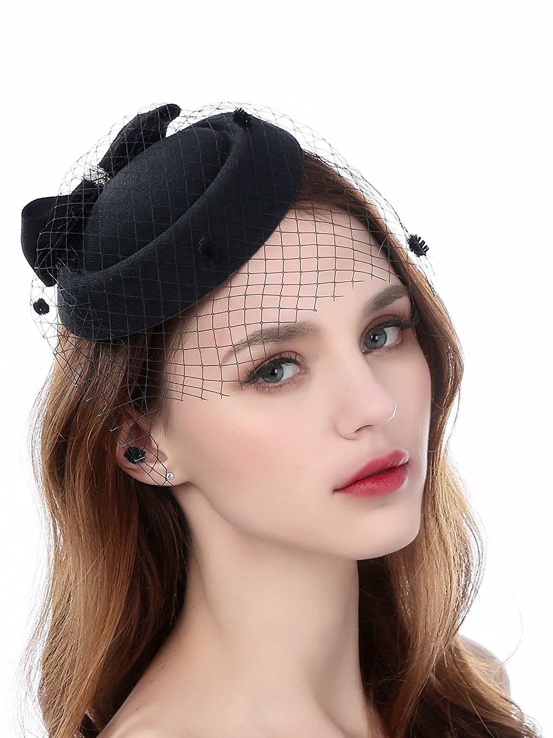 0d418b47 Fascinator Pillbox Hats with Flower Veil Feather Hairclip Wedding Hats for  Women: Amazon.co.uk: Clothing