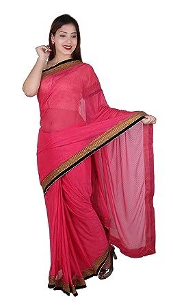 Desi Sarees Indian Pink Saree Stitched Gold Raw Silk Contrast Blouse Bollywood Fashion 7267