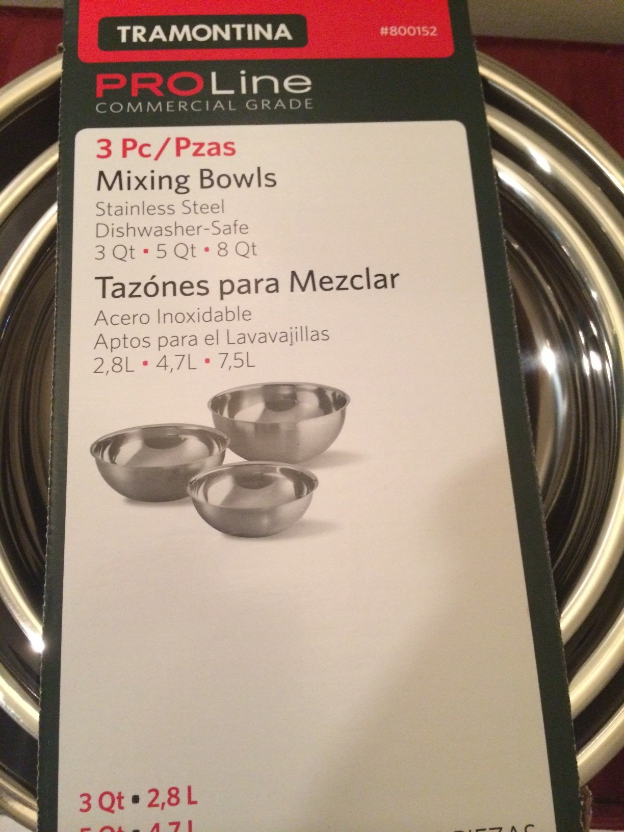 Tramontina Stainless Steel Mixing Bowls Set, 3 Pieces