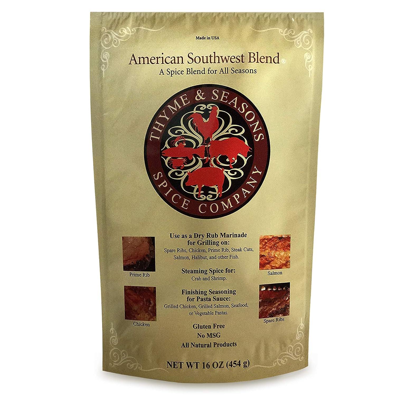 Thyme & Seasons Gourmet American Southwest Spice - Dry Rub Marinade, Seasoning, Grilling, Barbecue, Premium Sauces, Dressing, Smoking Meats - 16 oz