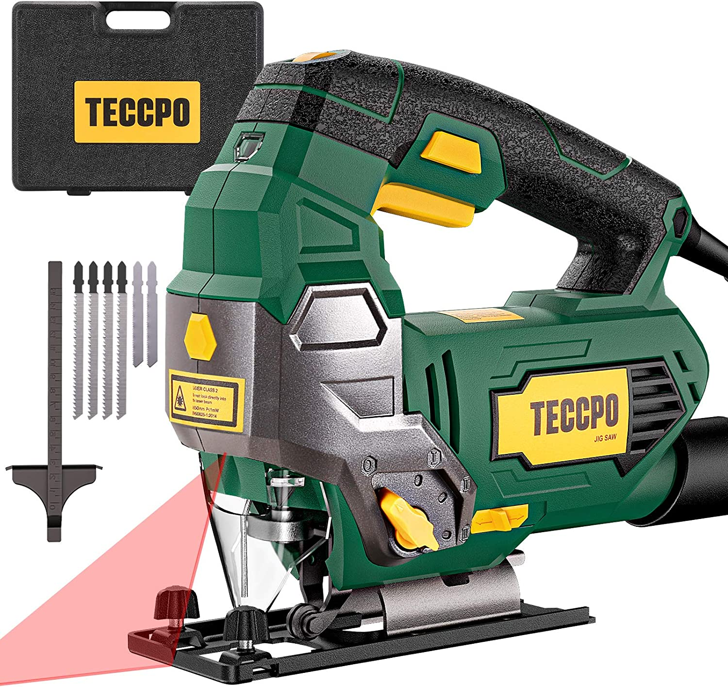 TECCPO 6.5Amp Jigsaw, 3000 SPM Jig saw with Laser, 6 Variable Speed