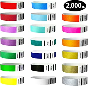 """Heavier Tyvek Wristbands 7.5 Mil – Goldistock""""Top 20"""" 2,000 Ct. Variety Pack- ¾"""" Arm Bands - 20 Unique Colors in All - Paper-Like Party Armbands - Wrist Bands for Upgrading Your Event"""