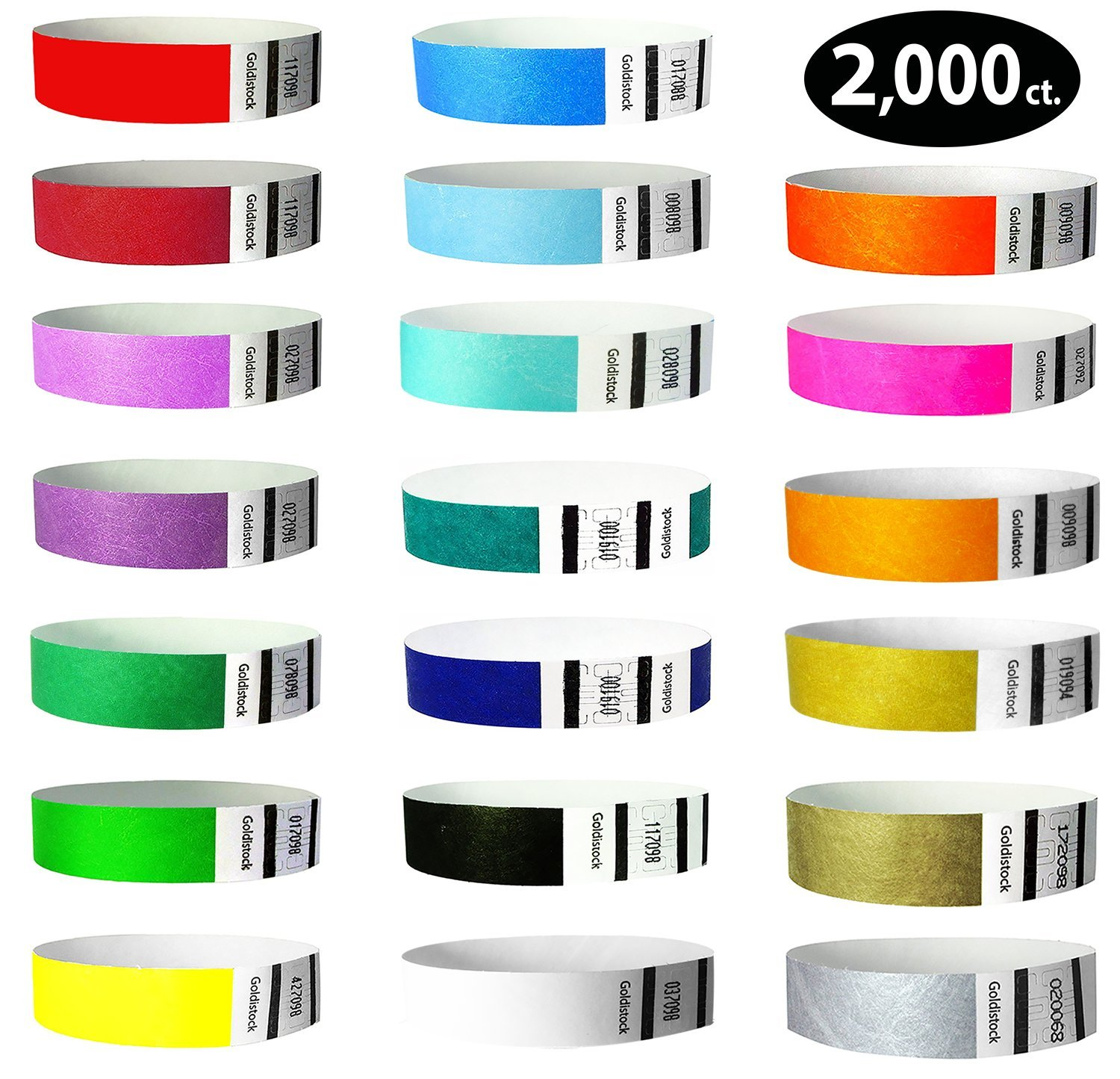 Tyvek Wristbands - Goldistock''Top 20'' 2,000 Ct. Variety Pack- ¾'' Arm Bands - 20 Colors:Green, Blue, Red, Yellow, Orange &15 More - Paper-Like Party Armbands - Wrist Bands for Upgrading Your Event by Goldistock