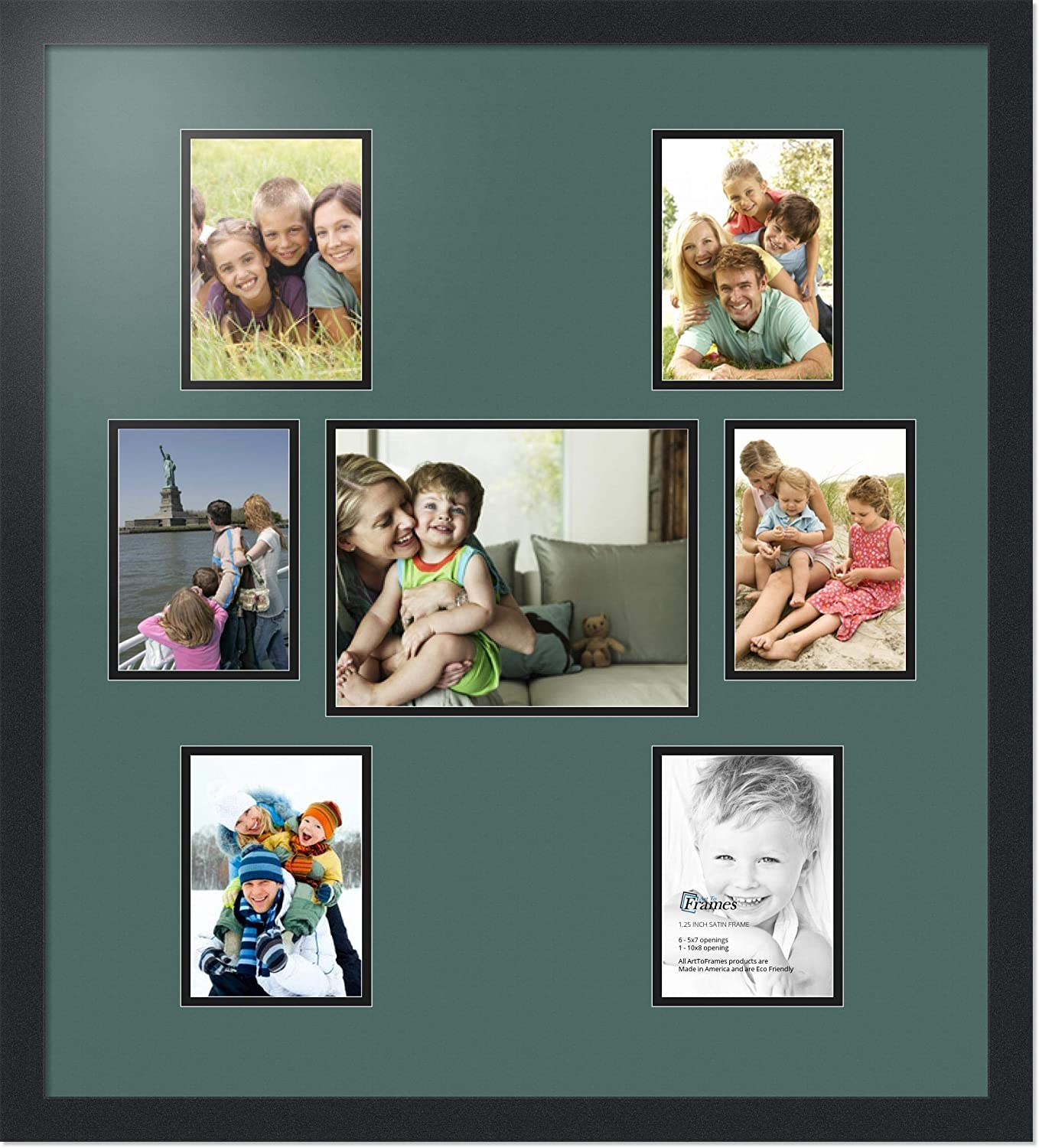 Art to Frames Double-Multimat-1138-868//89-FRBW26079 Collage Photo Frame Double Mat with 1-8x10 and 6-5x7 Openings and Satin Black Frame