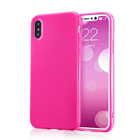 sports shoes 09897 bb3f1 for iPhone Xs Pink Case, technext020 Shockproof Ultra Slim Fit Silicone  iPhone 10 Cover TPU Soft Gel Rubber Cover Shock Resistance Protective Back  ...