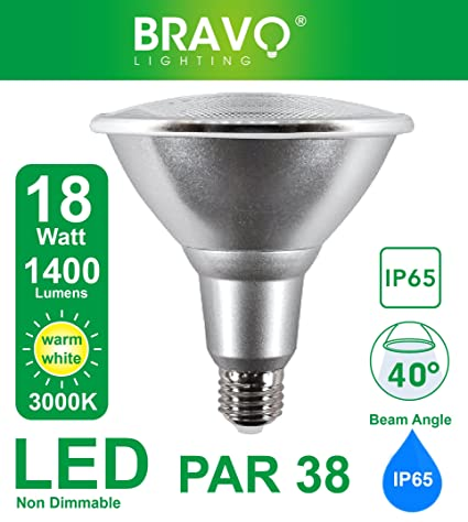 Bravo Lighting PAR38 - Bombilla halógena (18 W, IP65, E27, equivalente a