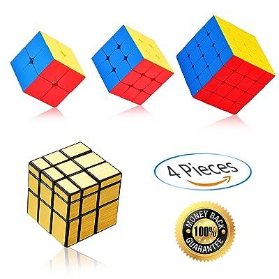 Ganowo Speed Cube PuzzleSmooth Magic Cube Set | Toy Bundle Pack | Brain Teaser Puzzle Gift (Gold Mirror+2x2,3x3,4x4 stickerless)