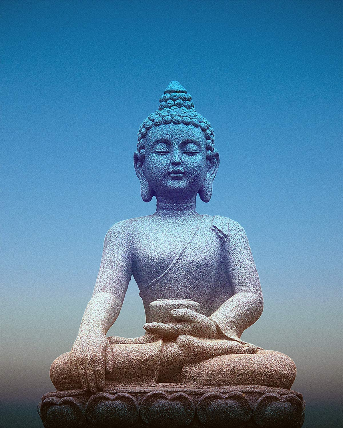 A Stone Buddha - Wall Decor Art Print on a gradient blue background - 8x10 unframed meditation-themed print - great gift for relatives and friends