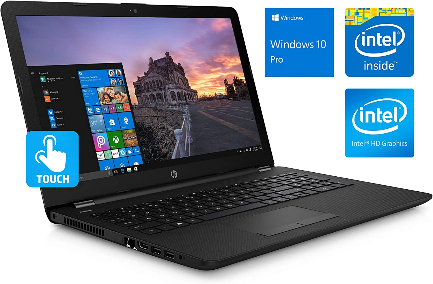 "HP 15.6"" HD Touchscreen Notebook, Intel Quad-Core Pentium Silver N5000 Upto 2.7GHz, 8GB DDR4, 256GB SSD, HDMI, Windows 10 Pro, Customized to Meet Specs as Listed (8GB RAM + 256GB SSD)"