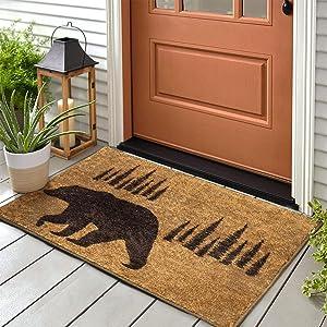 Indoor Outdoor Funny Doormat for Entryway Brown Bear Welcome Mats for Front Door Western Rustic Shoe Mat Cabin Decor Floor Mat Non-Slip Rug