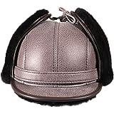 Zavelio Men s Shearling Sheepskin Elmer Fudd Visor Earflap Trapper Fur Hat 7f3993a33d2a