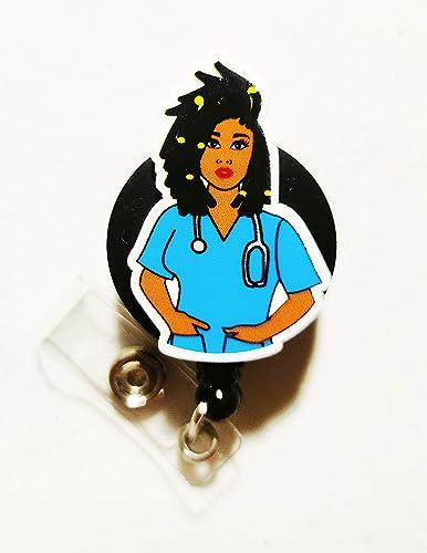 Retractable Badge Holder African  American Natural Hair Scrubs Nurse reel kente cloth Locs Black