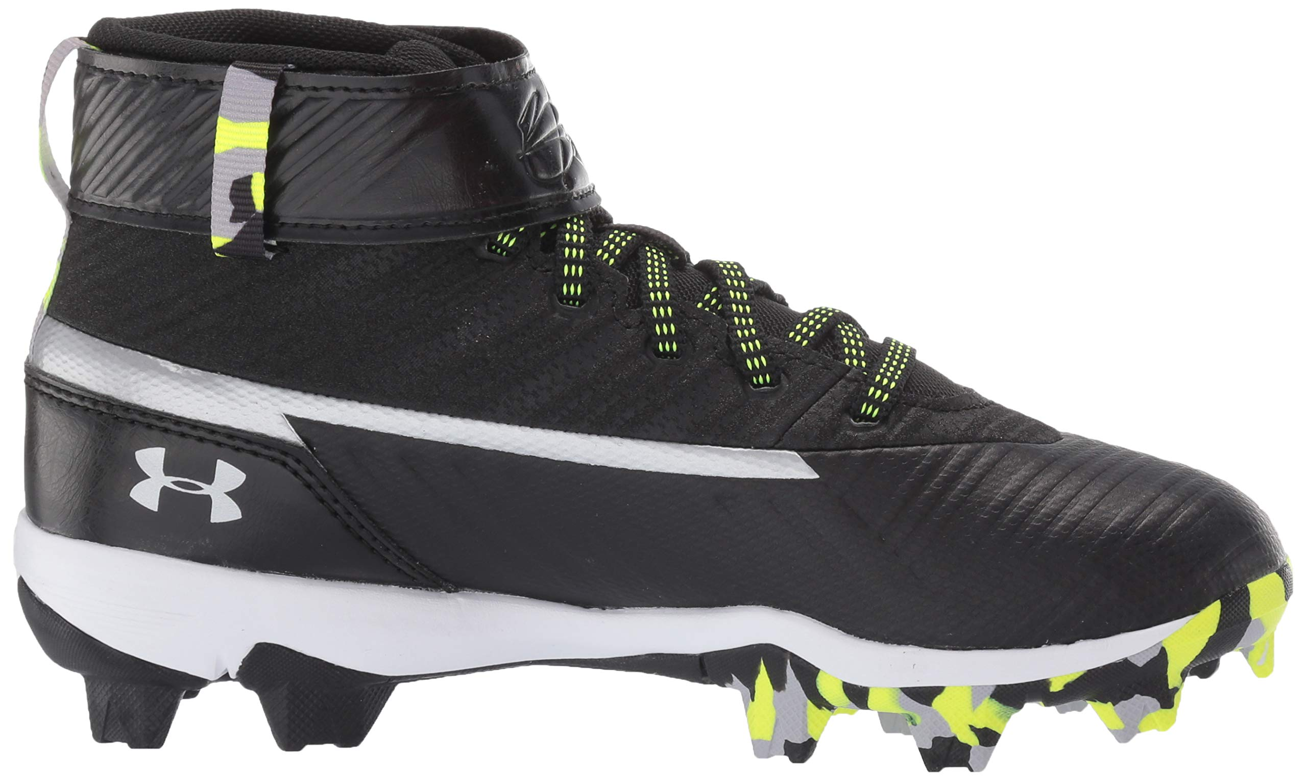 Under Armour Boys' Harper 3 Mid Jr. RM Baseball Shoe Black (001)/White 1.5 by Under Armour (Image #11)
