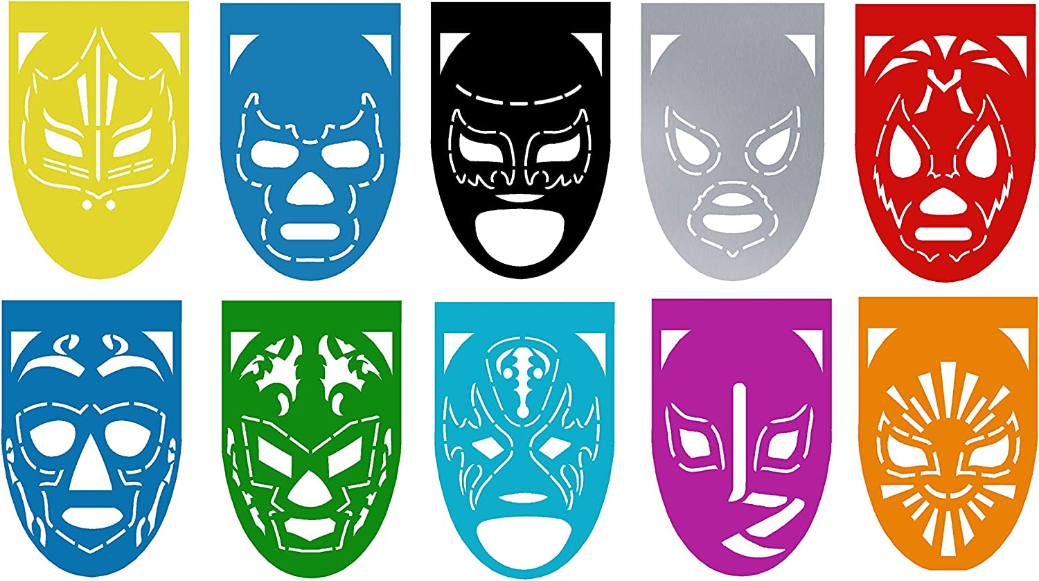 "LUCHA LIBRE Mexican Wrestlers Large Plastic Mexican Papel Picado Banner – 10 Panels – 18 Feet Long - Mexican Party Supplies Decorations – Medium Size (9x13""/Panel) Multicolor, Medium (2)"
