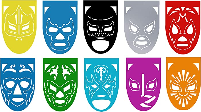 """LUCHA LIBRE Mexican Wrestlers Large Plastic Mexican Papel Picado Banner – 10 Panels – 18 Feet Long - Mexican Party Supplies Decorations – Medium Size (9x13""""/Panel) Multicolor, Medium (2)"""