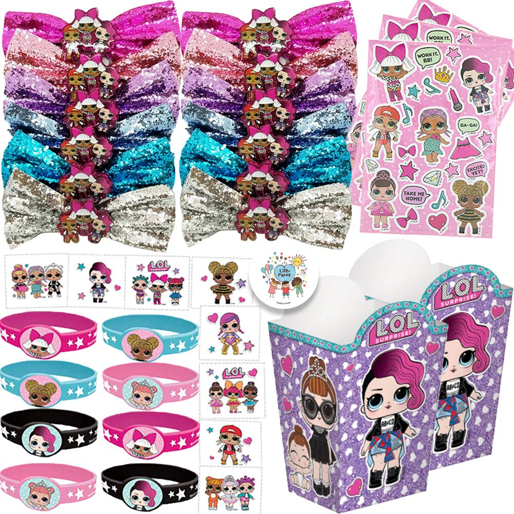 Ultimate LOL Surprise Doll Birthday Party Favor Pack With LOL Surprise Bows, Stickers, Bracelets, Tattoos, Popcorn Goodie Boxes, and Exclusive Pin