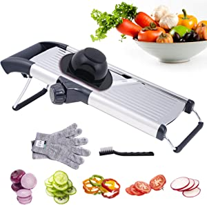 Adjustable Mandoline Food and Vegetables Slicer, Stainless Steel Slicer Vegetable Cutter and Chopper for Kitchen Onion Cabbage Zucchini Potato with Waffle Maker and Gloves