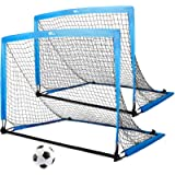 amzdeal Portable Soccer Goal, 4×3 ft Soccer Nets for Backyard Easy Fold-up Soccer Training Games for Kids and Teens, Set…