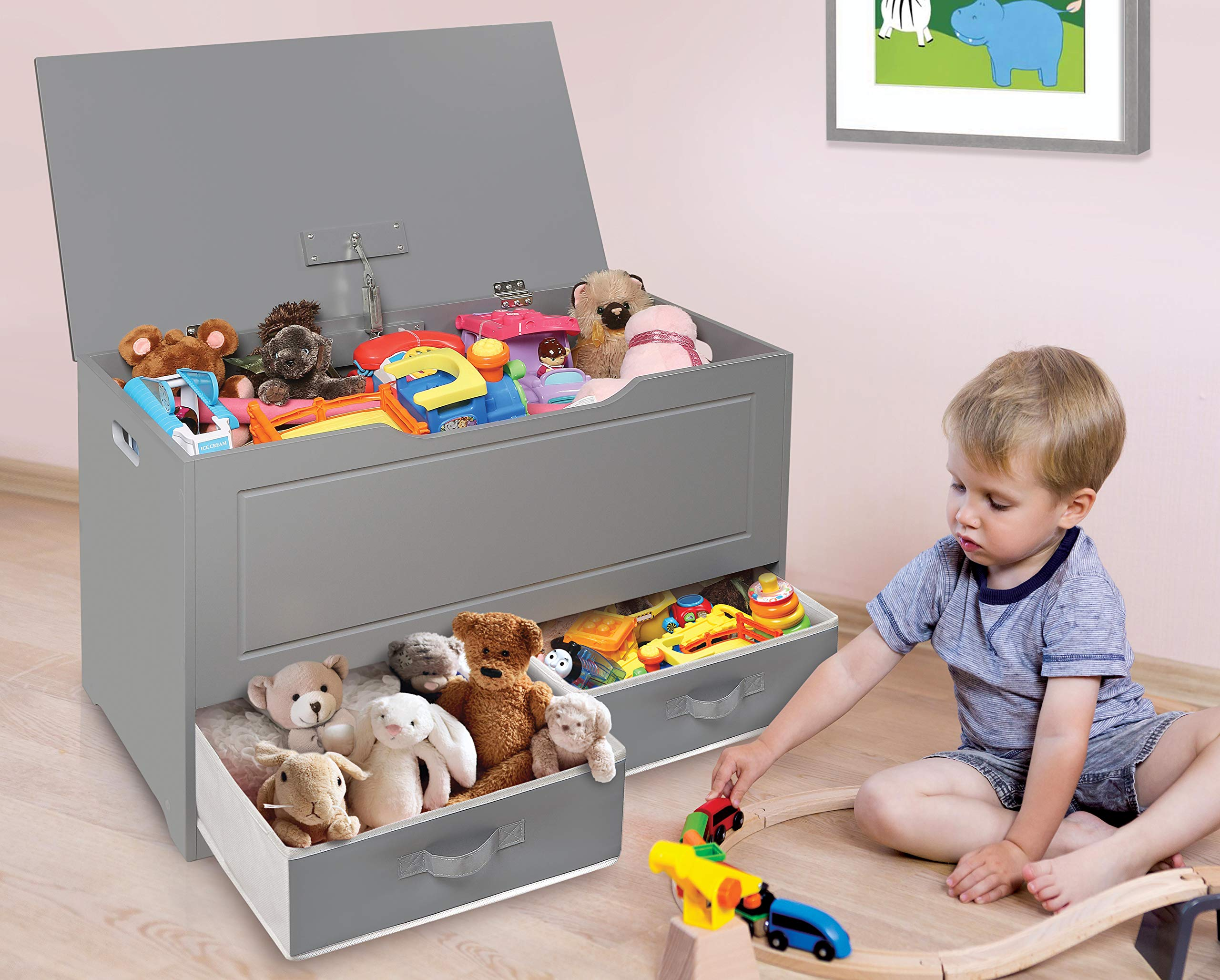 Badger Basket Up and Down Toy and Storage Box with 2 Basket Drawers, Gray/White by Badger Basket (Image #3)
