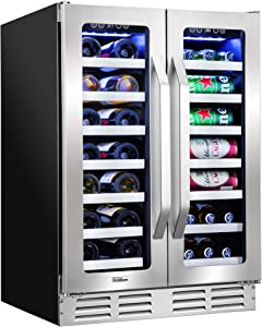 """Ivation 40-Bottle Dual-Zone 24"""" Built-In Wine Cooler & Beverage Center Combo or (20-Bottle & 66-Can), Undercounter Compressor Fridge/Cellar, Bar Refrigerator, Quiet, French Glass & Stainless Steel"""