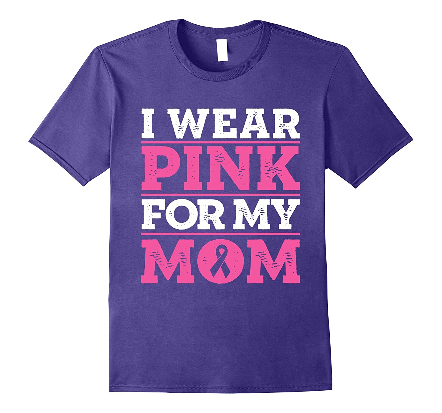 Breast Cancer T-Shirt for Kids I wear pink for my mom ribbon-T-Shirt