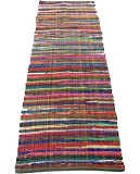 Chardin Home - Eco Friendly 100% Recycled Cotton Colorful Chindi Runner Area Rug - 2'X7'