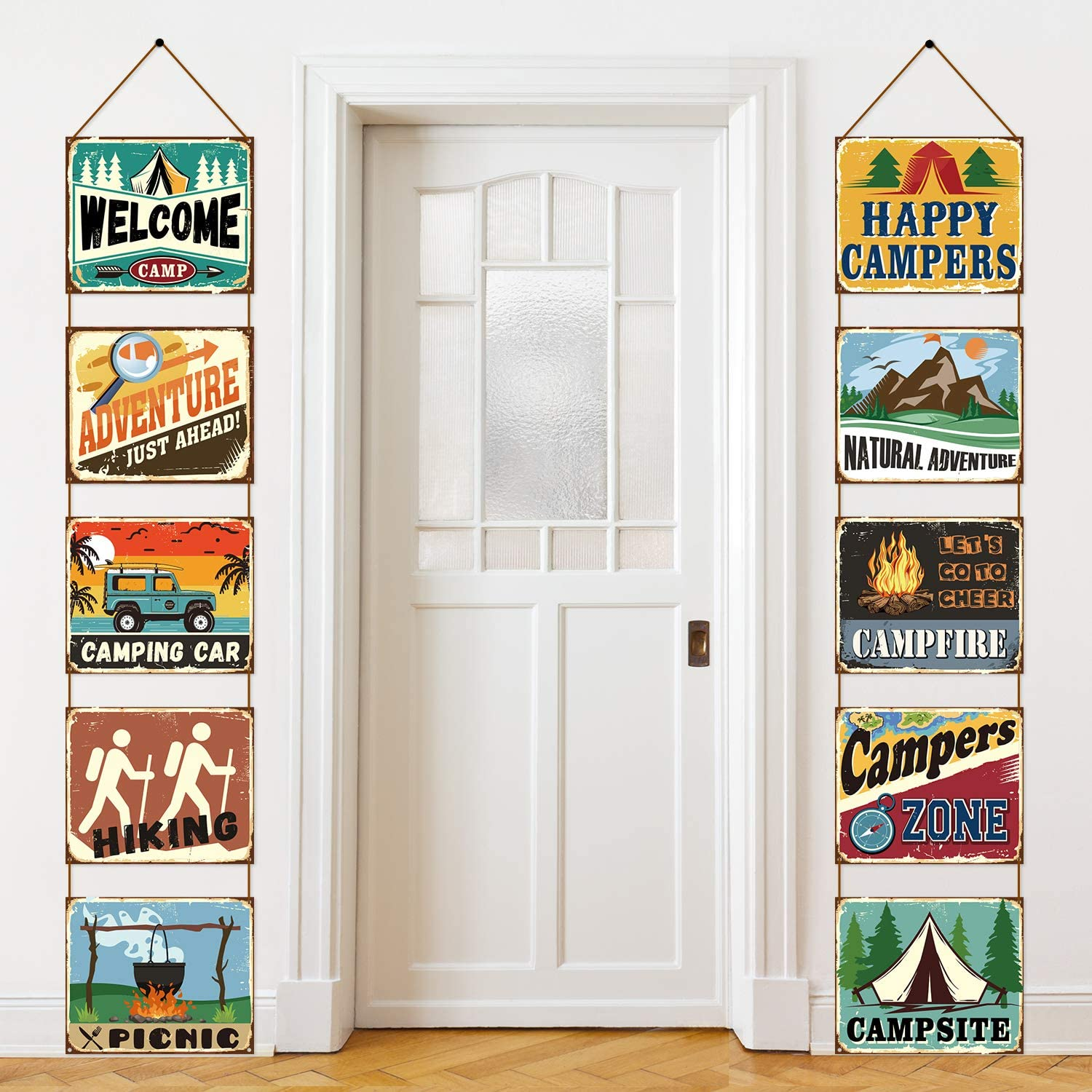 Camping Party Decorations Camping Banner Laminated Camping Signs Camp Themed Decorations Supply Birthday Party Baby Shower Decor Paper Cutouts with 2 Ropes and Glue Point Dots