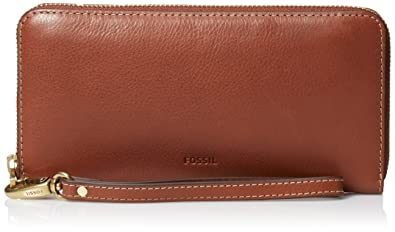 Fossil Emma Large Zip Clutch,Brown,One Size