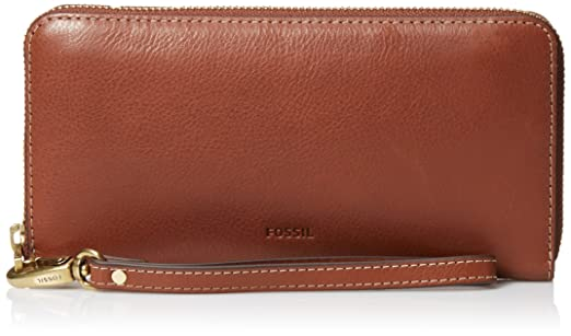 c9d9967e6542 Amazon | Fossil Women's Emma Rfid Large Leather Zip Clutch - Brown ...