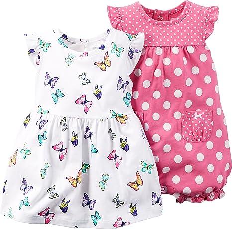 Carters Baby Girls 2 piezas Vestido y juego de Pelele, Jersey y lunares de diseño