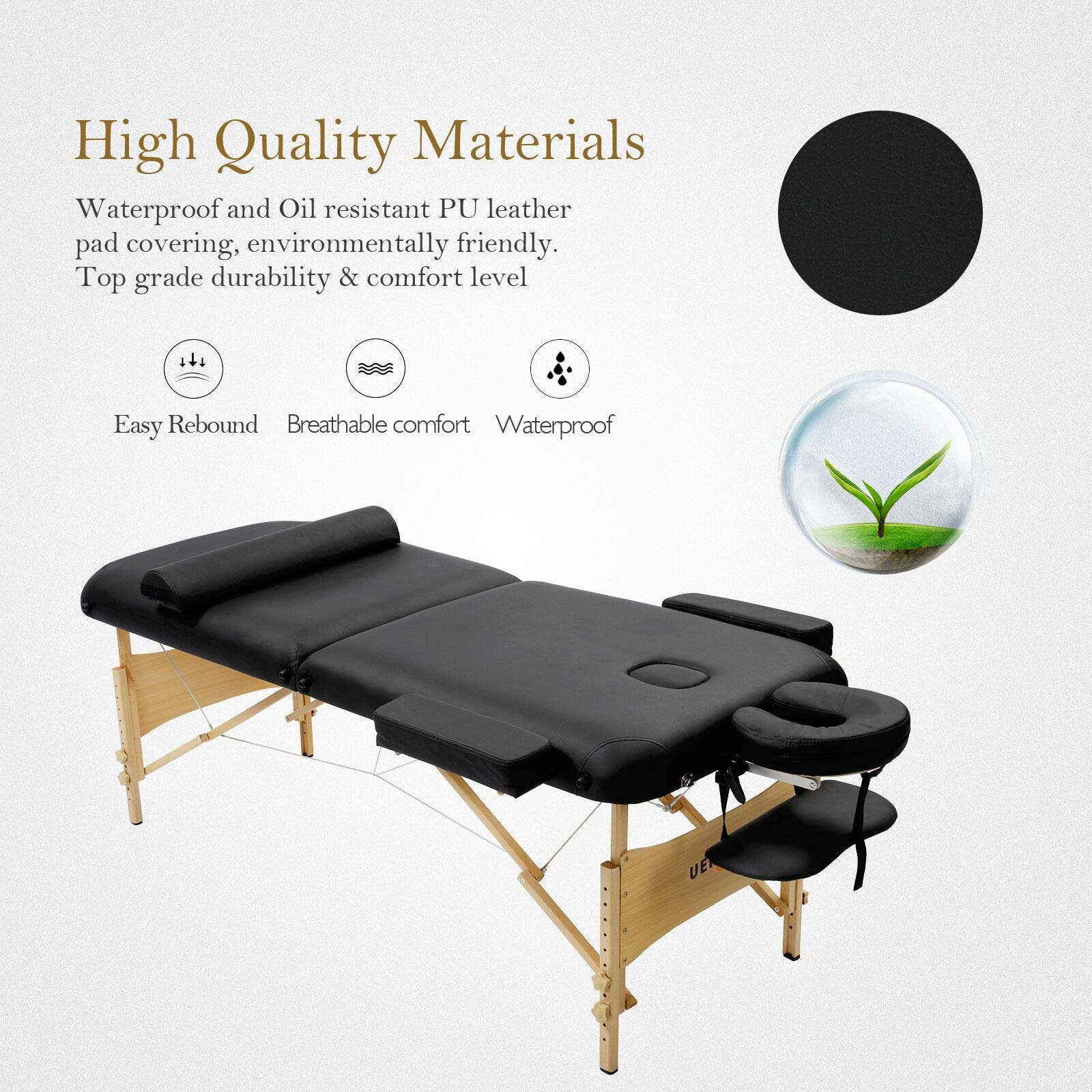 Uenjoy Massage Table 84'' Professional Folding Massage Bed Deluxe Model with Extra Width, Ultra-thick Sponge, PU Leather Surface & Additional Accessories, 2 Fold, Black by Uenjoy (Image #7)