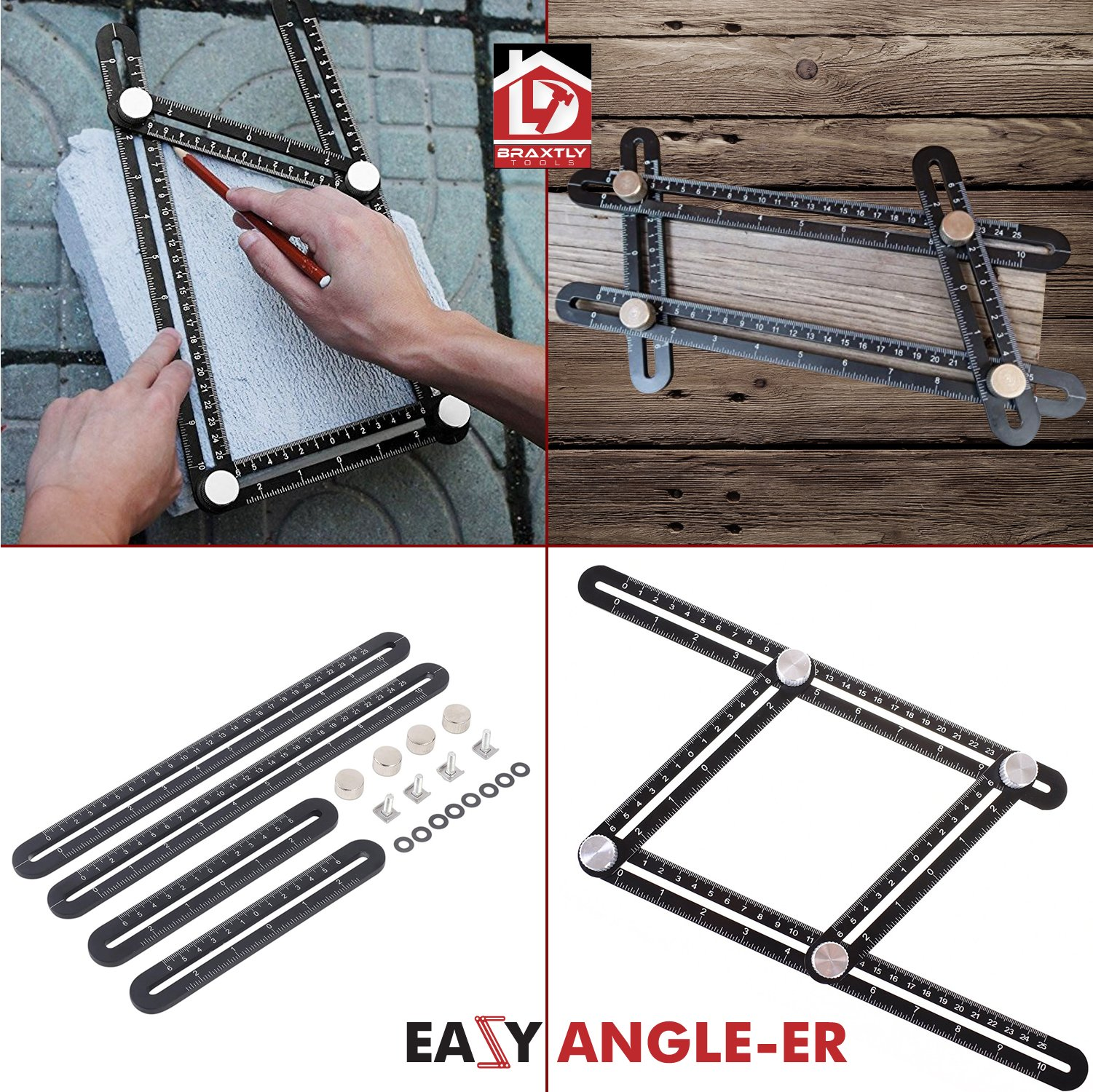 Braxtly Tools EASY ANGLE-ER HEAVY DUTY Template Tool - Ultimate Multi Angle Ruler - For Measuring Angles - Made of Premium Metal Alloy- Adjustable Knobs for Precise Measurement- w/Instruction Manual by Braxtly Tools (Image #6)